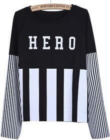 Black Long Sleeve Vertical Stripe HERO Print Sweatshirt