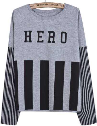 Grey Long Sleeve Vertical Stripe HERO Print Sweatshirt