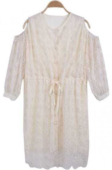 Beige Off the Shoulder Lace Contrast Chiffon Dress