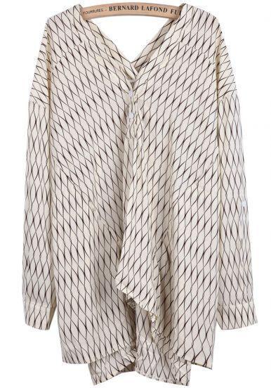 Beige V Neck Long Sleeve Geometric Print Chiffon Dress