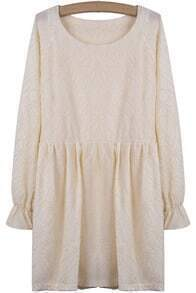 Beige Long Sleeve Embroidered Pleated Loose Dress
