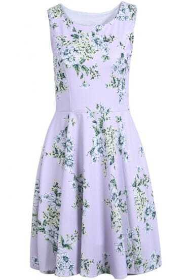 Purple Round Neck Sleeveless Floral Pleated Sundress