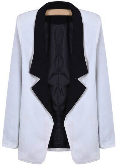 White Contrast Notch Lapel Long Sleeve Fitted Blazer