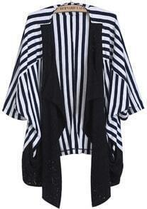 Blue White Striped Contrast Lace Hollow Cardigan