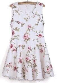 White Sleeveless Embroidered Ruffle Organza Dress