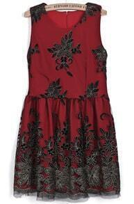 Red Round Neck Sleeveless Embroidered Pleated Dress
