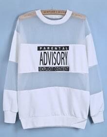 White Contrast Sheer Mesh Yoke Letters Print Sweatshirt
