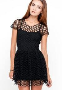 Black Short Sleeve Hollow Out Short Dress