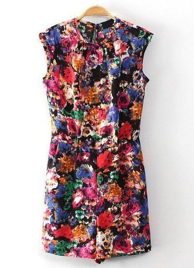 Multi Round Neck Sleeveless Floral Jumpsuits