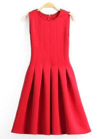 Red Sleeveless Flare Pleated Tank Dress