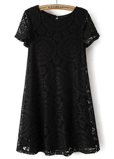 Black Short Sleeve Hollow Lace Loose Dress
