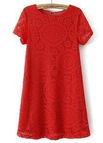 Red Short Sleeve Hollow Lace Loose Dress