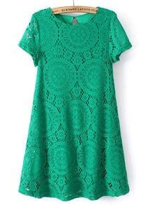 Green Short Sleeve Hollow Lace Loose Dress