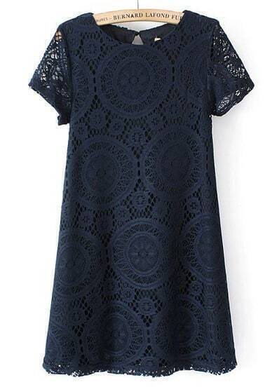 Navy Short Sleeve Hollow Lace Loose Dress