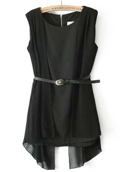 Black Sleeveless Asymmetrical Chiffon Blouse