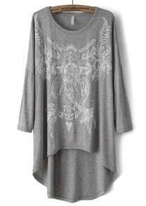 Grey Round Neck Print Loose Dipped Hem T-Shirt