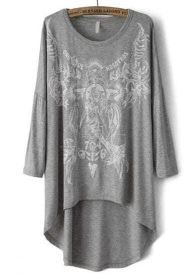 Grey Round Neck Print Loose Dipped Hem T-Shirt