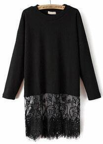 Black Long Sleeve Contrast Lace Loose T-Shirt