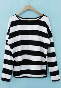 Black White Striped Long Sleeve Dipped Hem T-Shirt