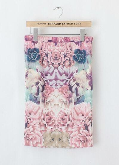 Pink Floral Bodycon Slim Skirt
