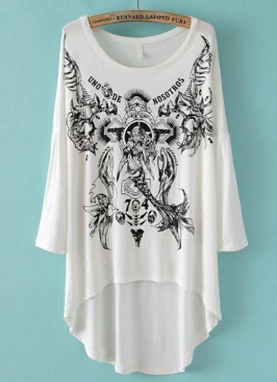 White Round Neck Print Loose Dipped Hem T-Shirt