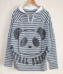 Grey Long Sleeve Striped Panda Print Hooded Sweatshirt