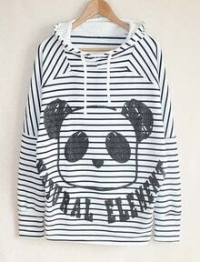 White Long Sleeve Striped Panda Print Hooded Sweatshirt