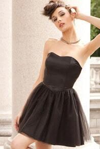 Black Sleeveless Ruffle Drawstring Dress