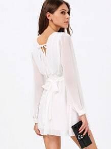 White Long Sleeve V Neck Belt Dress