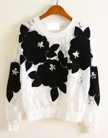 White Long Sleeve 3D Floral Pattern Lace Sweatshirt -SheIn(Sheinside)
