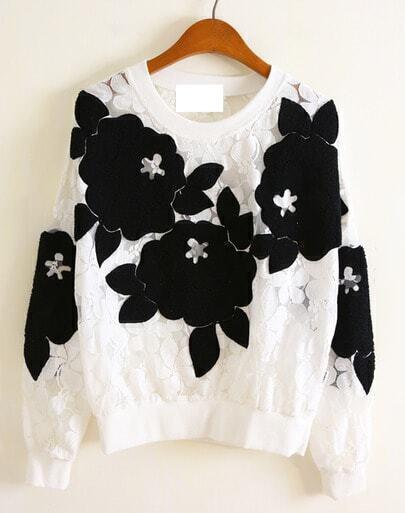 White Long Sleeve 3D Floral Pattern Lace Sweatshirt