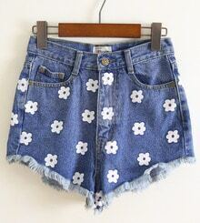 Blue Flower Pattern Denim Pant