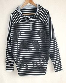 Black Long Sleeve Striped Panda Print Hooded Sweatshirt