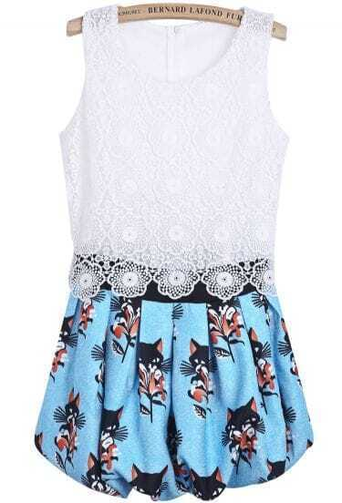 White Lace Sleeveless Contrast Blue Cat Print Dress