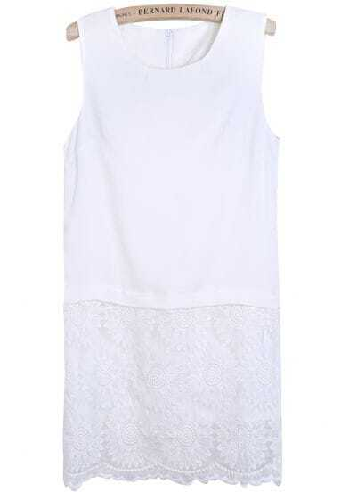 White Sleeveless Contrast Lace Embroidered Dress