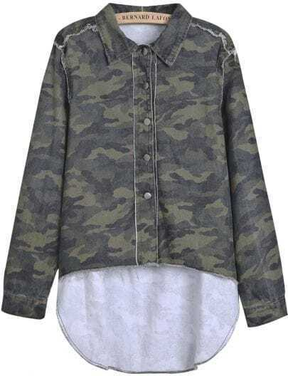 Green Camouflage Lapel Long Sleeve Dipped Hem Blouse