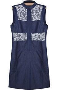 Blue Sleeveless Contrast Lace Hollow Denim Dress