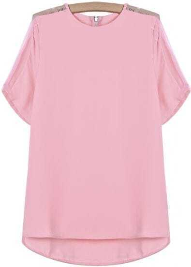 Pink Short Sleeve Contrast Sheer Shoulder Chiffon Blouse