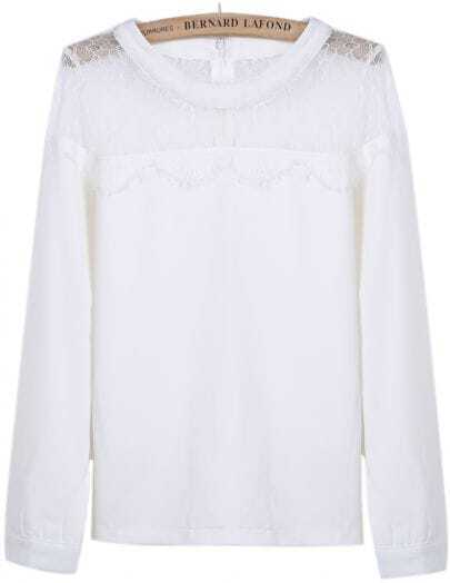 White Long Sleeve Contrast Lace Chiffon Blouse