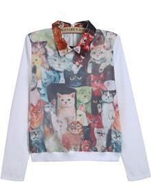 White Long Sleeve Cats Print Crop Blouse