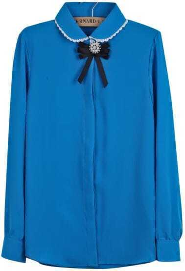 Blue Lapel Long Sleeve Bow Bead Chiffon Blouse