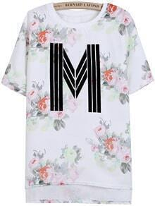 White Short Sleeve Floral M Print Dipped Hem T-Shirt