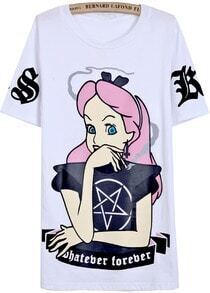 White Short Sleeve Cartoon Girl Print T-Shirt