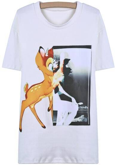 White Short Sleeve Deer Print Loose T-Shirt