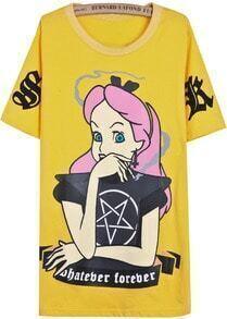 Yellow Short Sleeve Cartoon Girl Print T-Shirt