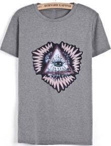 Grey Short Sleeve Triangle Eye Print Rhinestone T-Shirt