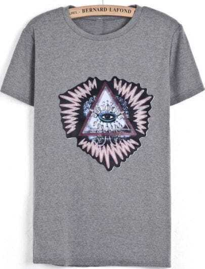 Grey Short Sleeve Triangle Eye Print Rhinestone T-Shirt