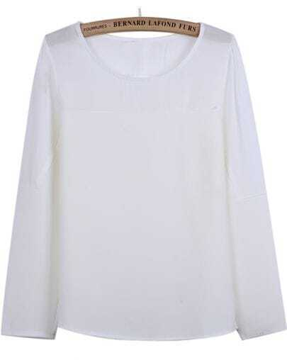 White Contrast Chiffon Long Sleeve Loose T-Shirt