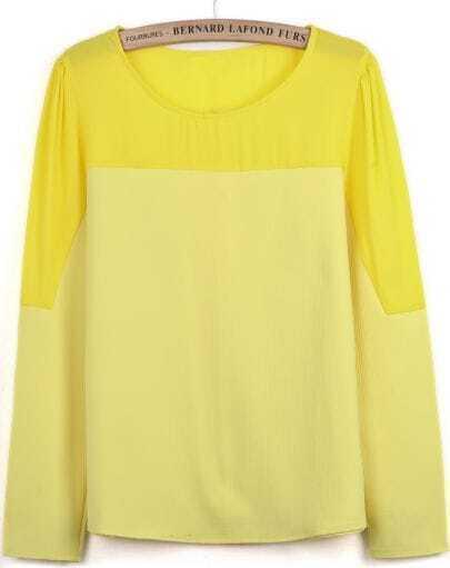Yellow Contrast Chiffon Long Sleeve Loose T-Shirt