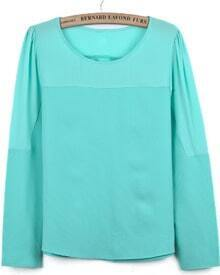 Green Contrast Chiffon Long Sleeve Loose T-Shirt
